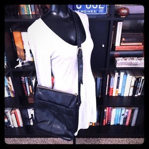 Relic Black Leather Crossbody Bag